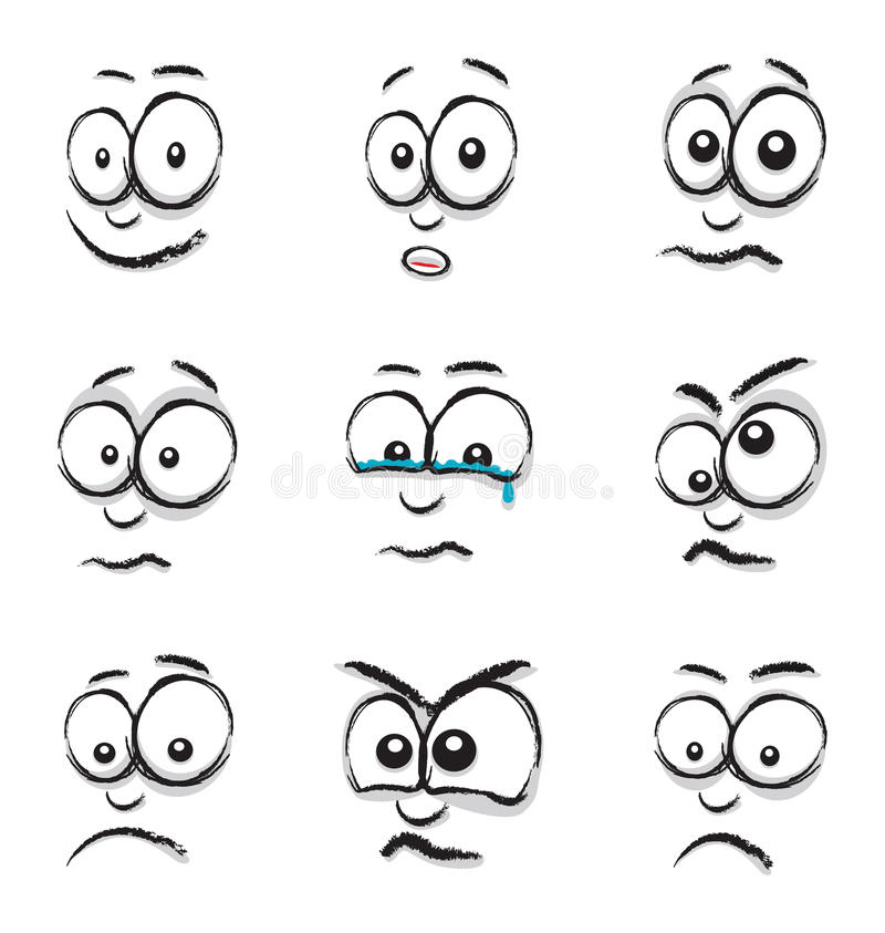 Download Cartoon face group stock vector. Image of element, emotional - 38737112