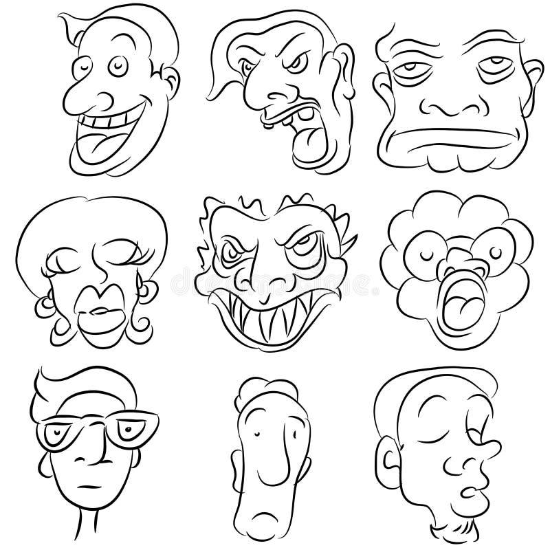 Cartoon Face Set stock photos