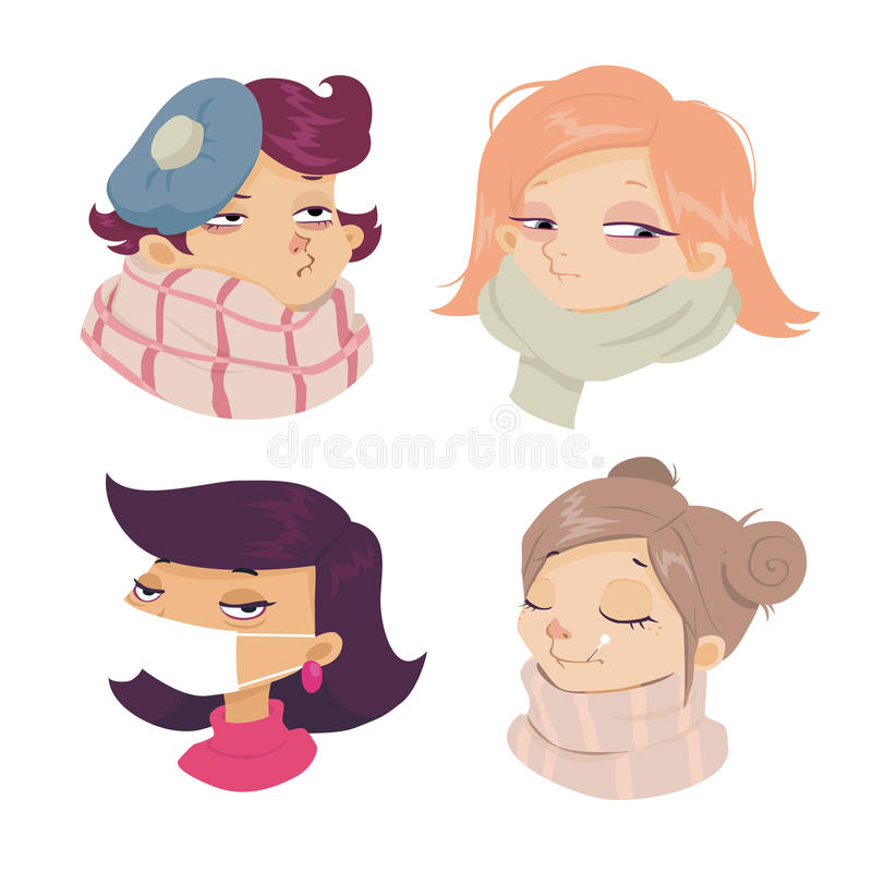 Cartoon face sickness, Cold symptoms of girl vector illustration