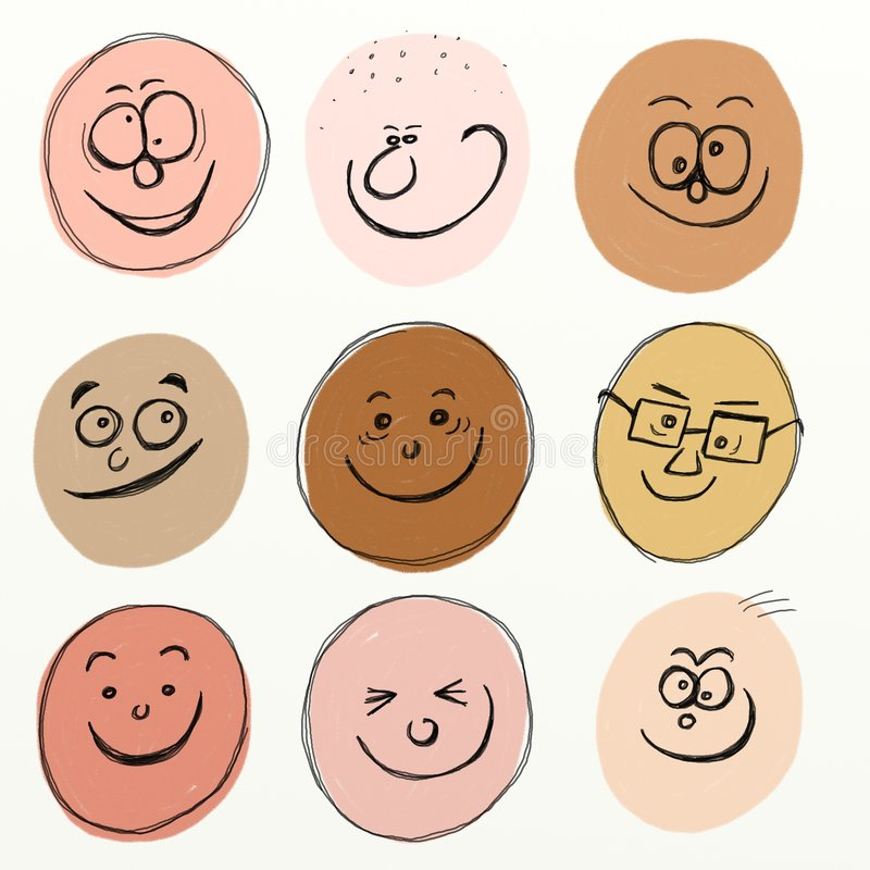 Download Cartoon faces stock illustration. Illustration of friends - 3886171