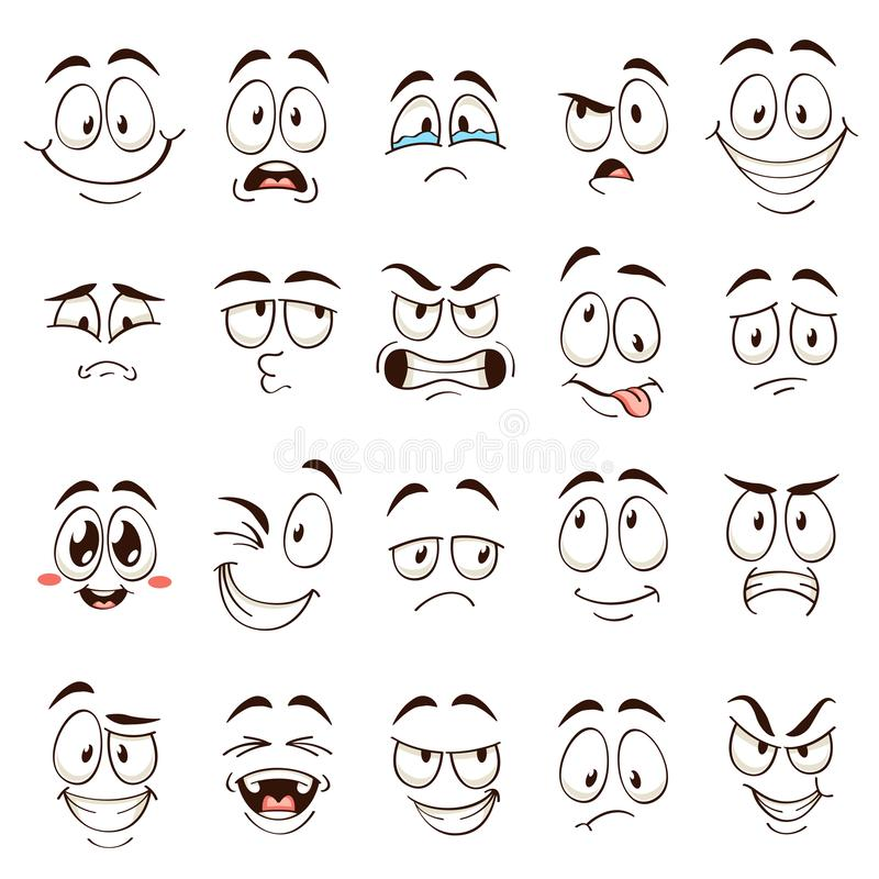 Free Cartoon Faces. Caricature Comic Emotions With Different Expressions. Expressive Eyes And Mouth, Funny Flat Vector Royalty Free Stock Image - 161052786