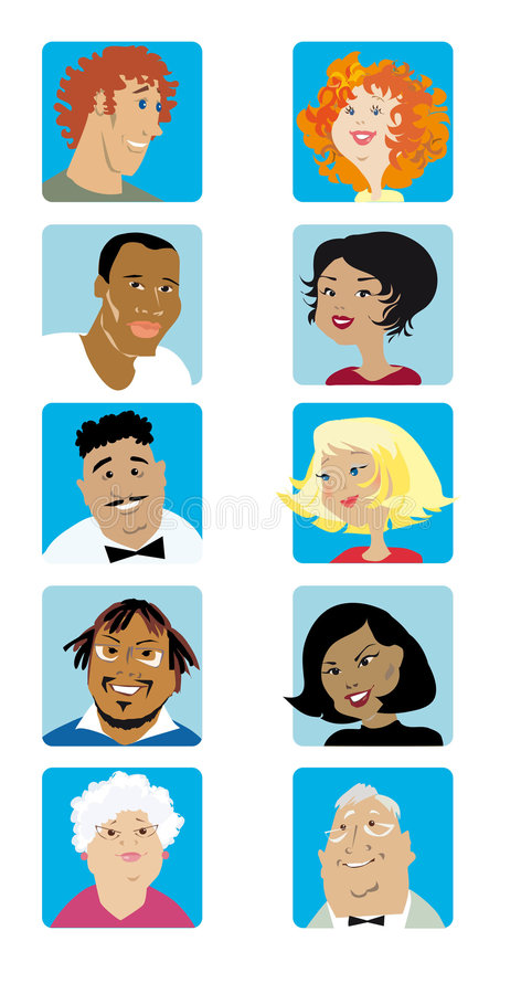 Free Cartoon Faces Collection Royalty Free Stock Photography - 5424247