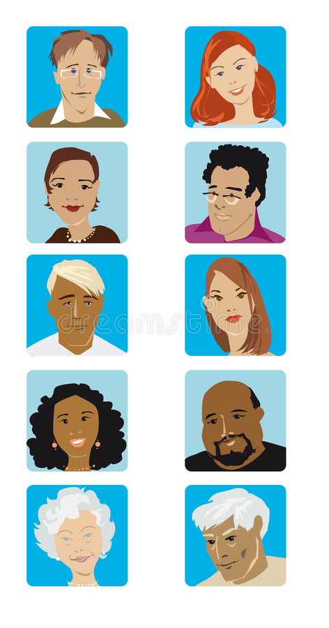 Free Cartoon Faces Collection Stock Image - 5424271