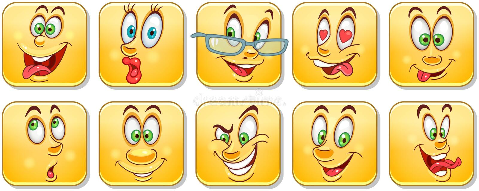 Cartoon faces collection. Emoticons. Smiley. Emoji stock images