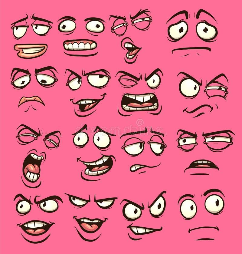 Cartoon faces stock illustration