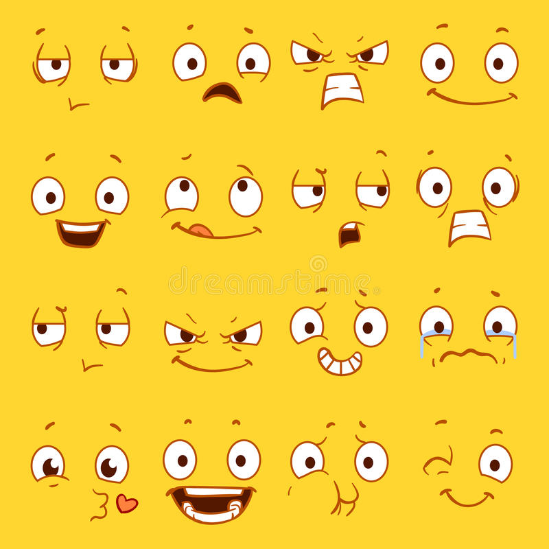 cartoon faces with different expressions vector set stock vector rh dreamstime com funny smiling cartoon faces cartoon smiley faces vector