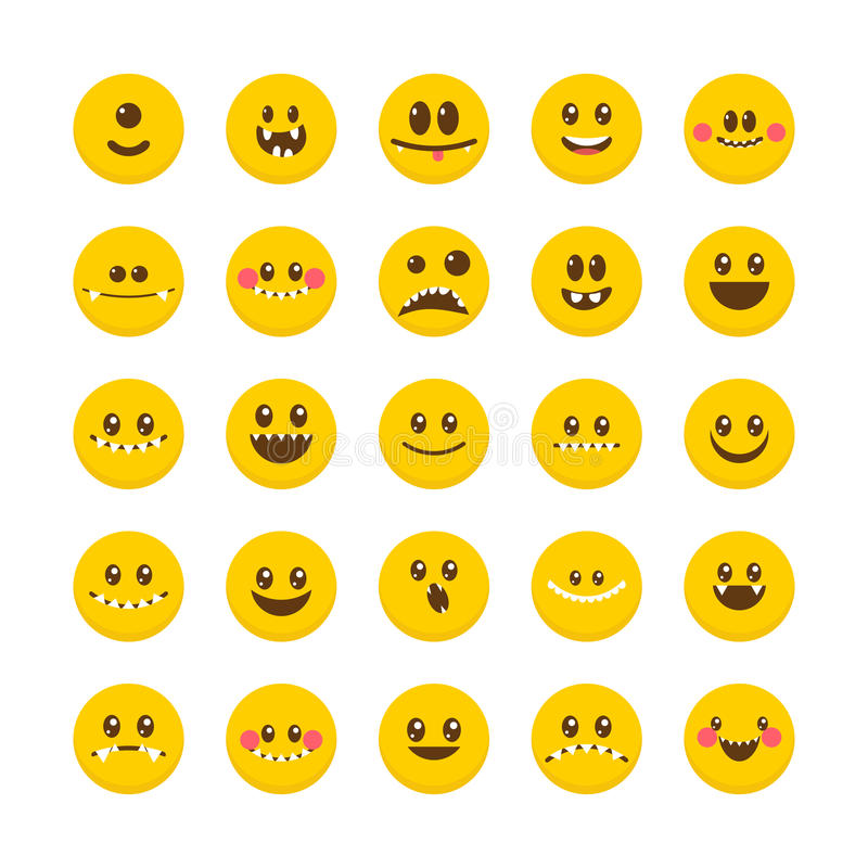 Cartoon faces with emotions. Set of cute monsters. Different Hal stock illustration