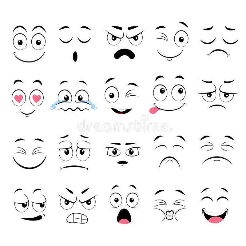 Cartoon faces. Expressive eyes and mouth, smiling, crying and surprised character face expressions. Caricature comic emotions or. Emoticon doodle. Isolated royalty free illustration