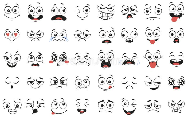 Cartoon faces. Expressive eyes and mouth, smiling, crying and surprised character face expressions vector illustration stock illustration