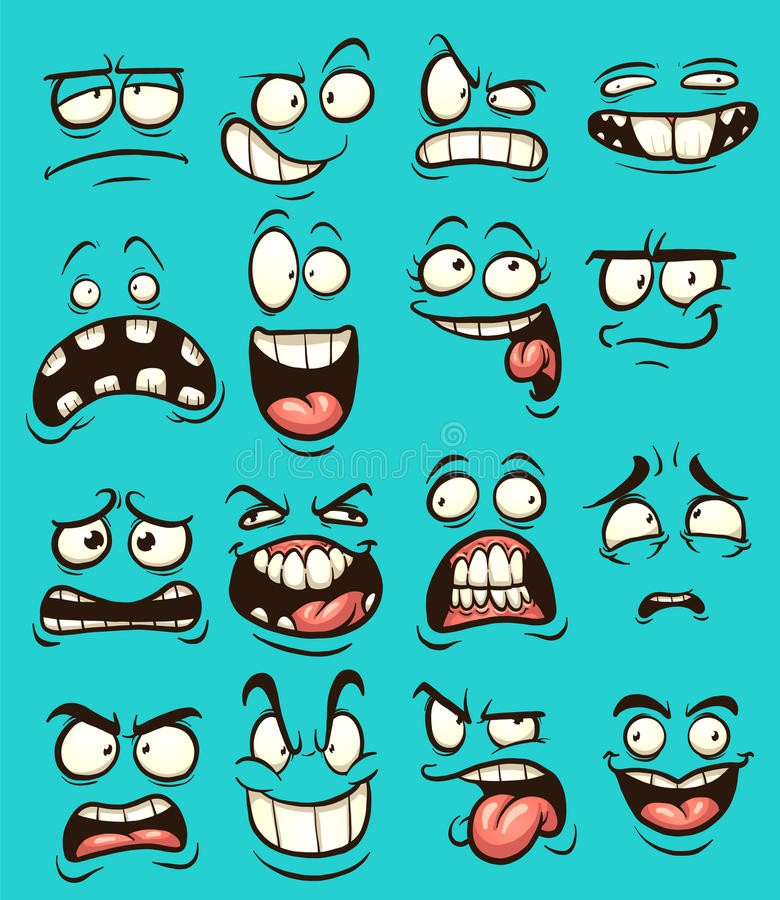 Download Cartoon faces stock vector. Image of expressions, bored - 95308759