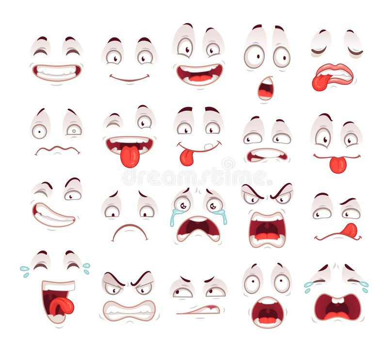 Cartoon faces. Happy excited smile laughing unhappy sad cry and scared face expressions. Expressive caricatures vector stock illustration
