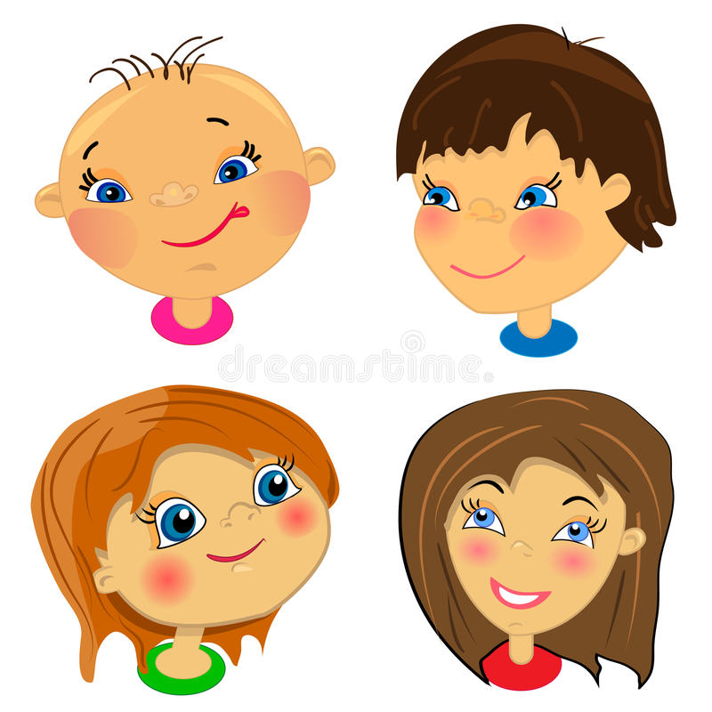 Download Cartoon Faces Of Kids. Set Of Illustrations Royalty Free Stock Photography - Image: 22413507