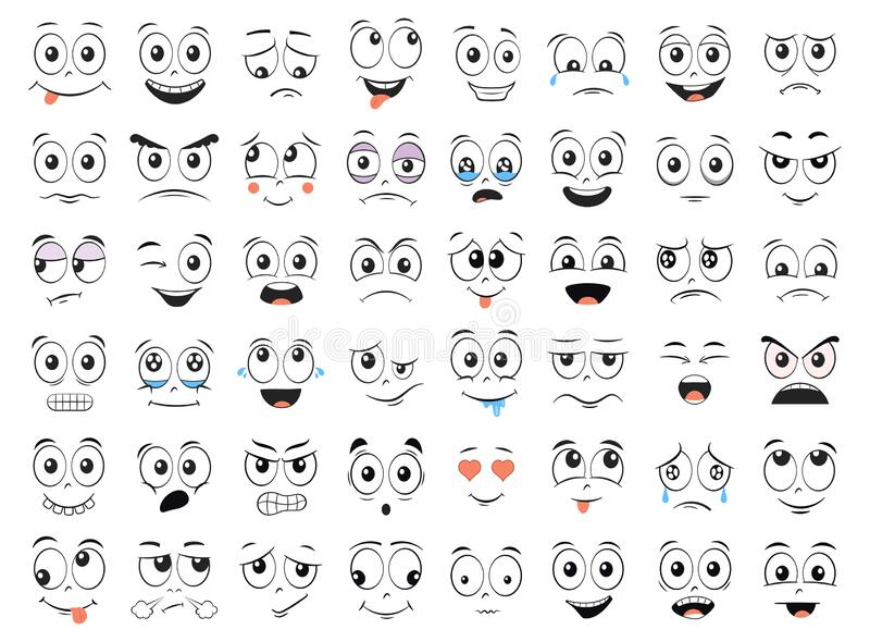 Cartoon faces set. Angry, laughing, smiling, crying, scared and other expressions. Vector stock illustration