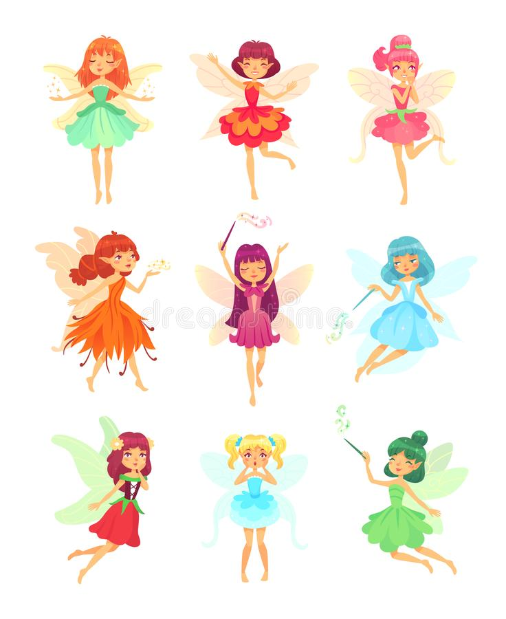 Free Cartoon Fairies Characters. Fairy Creatures With Wings And Magic Wands. Fabulous Flying Elf Dress Girls With Flower Royalty Free Stock Photo - 121869105