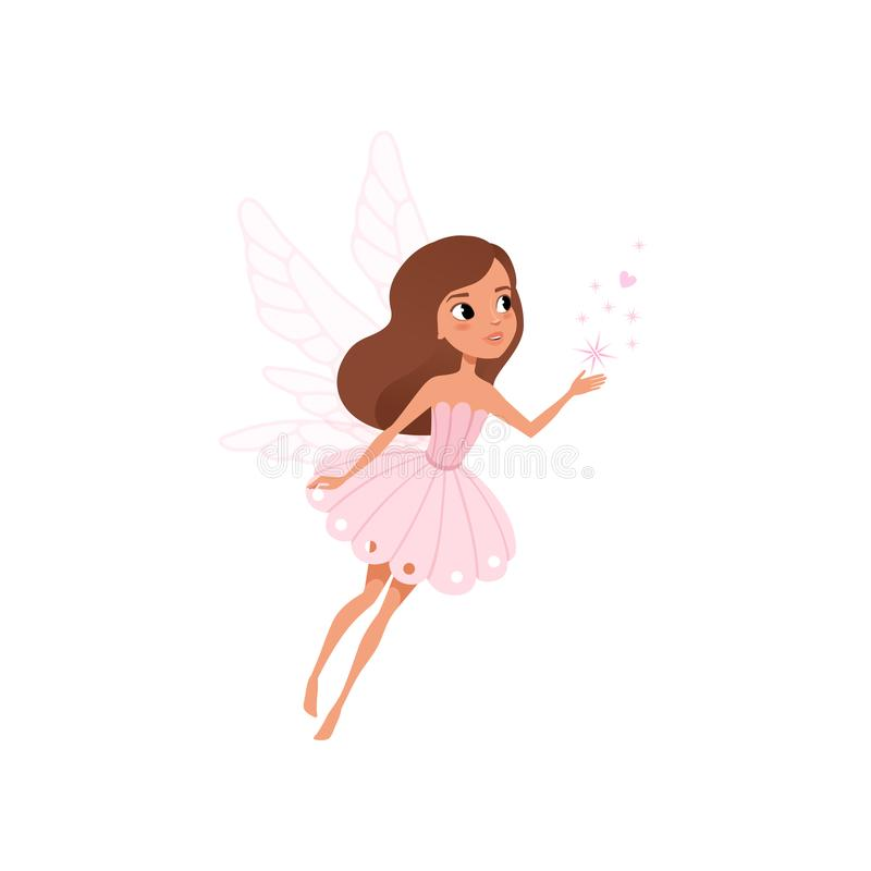 Cartoon fairy girl flying and spreading magical dust. Brown-haired pixie in cute pink dress. Fairytale character with. Little wings. Colorful flat vector royalty free illustration