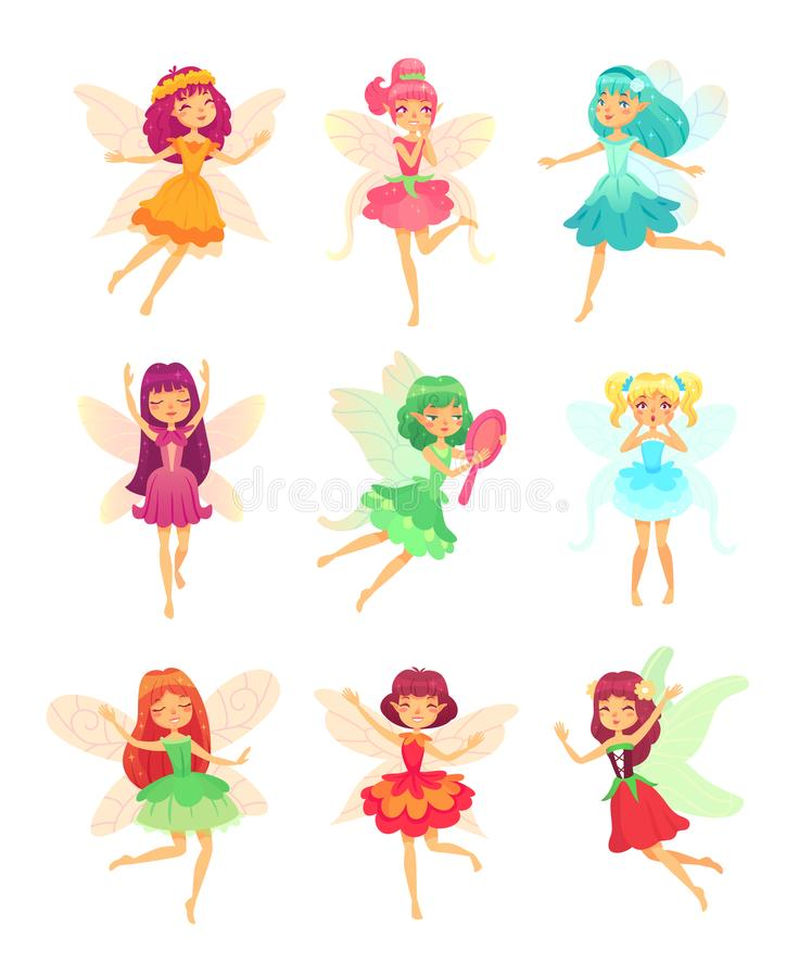 Cartoon fairy girls. Cute fairies dancing in colorful dresses. Magic flying little creatures characters with wings vector illustration