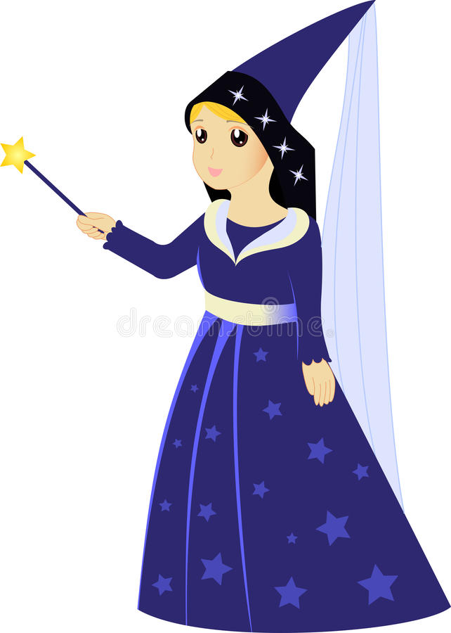 Download Cartoon Fairy Sorceress With Magic Wand Stock Vector - Image: 32750073