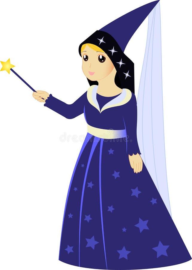 Cartoon fairy sorceress with magic wand royalty free illustration