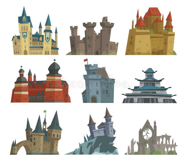 Cartoon fairy tale castle key-stone palace tower icon scarry knight medieval architecture building vector illustration. royalty free illustration