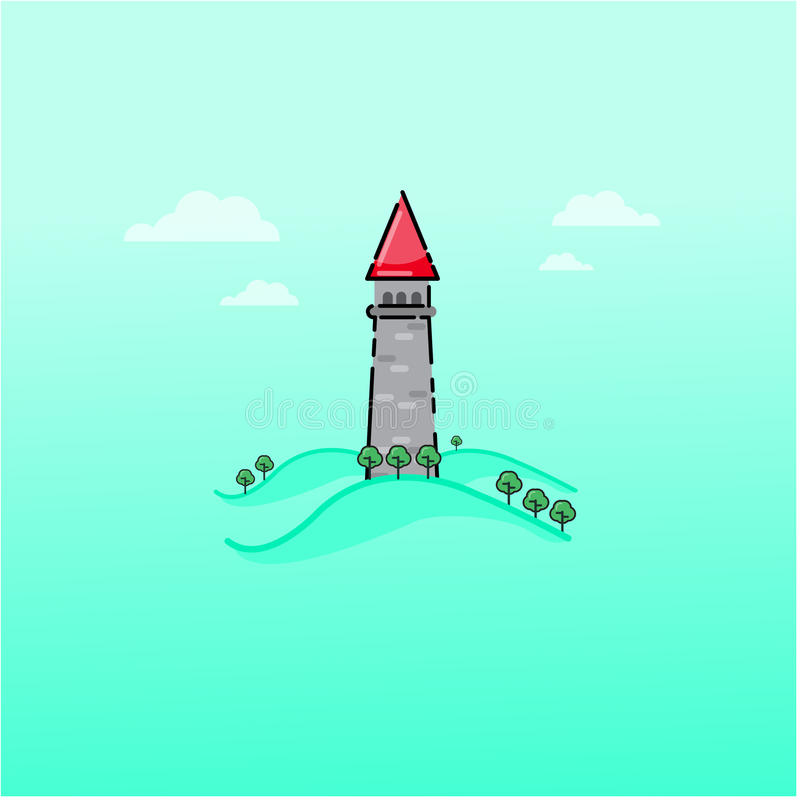 Cartoon fairy tale castle outline stock illustration