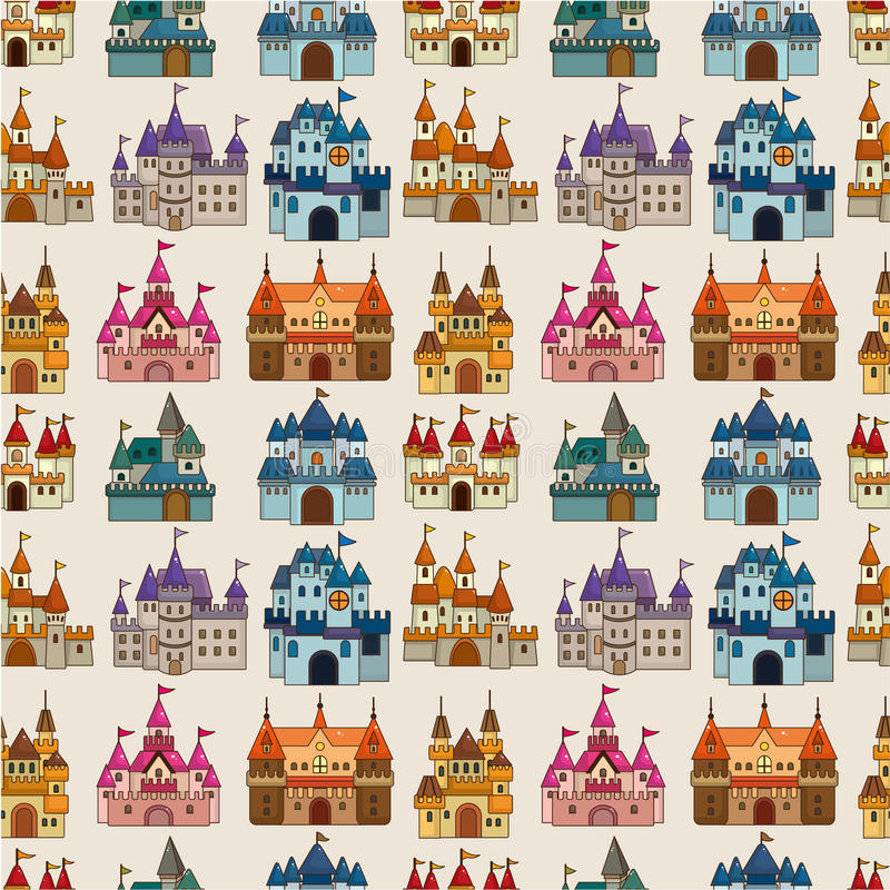 Download Cartoon Fairy Tale Castle Seamless Pattern Stock Vector - Image: 19648467