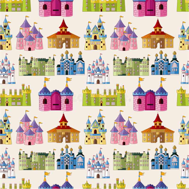 Cartoon Fairy tale castle seamless pattern royalty free illustration