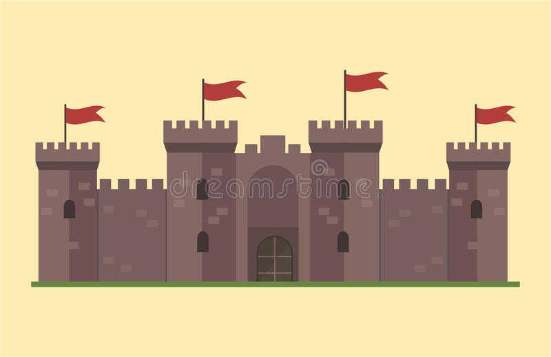 Cartoon fairy tale castle tower icon cute architecture fantasy house fairytale medieval and princess stronghold design royalty free illustration
