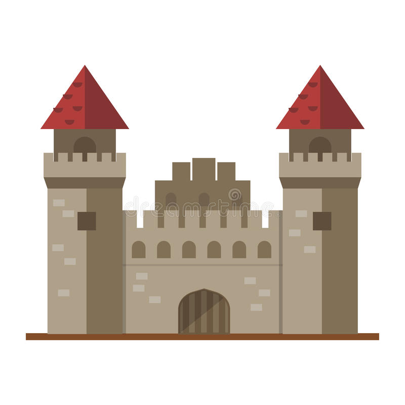 Cartoon fairy tale castle tower icon cute architecture fantasy house fairytale medieval and princess stronghold design. Fable vector illustration. Magic old vector illustration