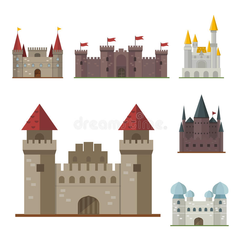 Cartoon Fairy Tale Castle Tower Icon Cute Architecture Fantasy House  Fairytale Medieval And Princess Stronghold Design Fable Vector Illustration.