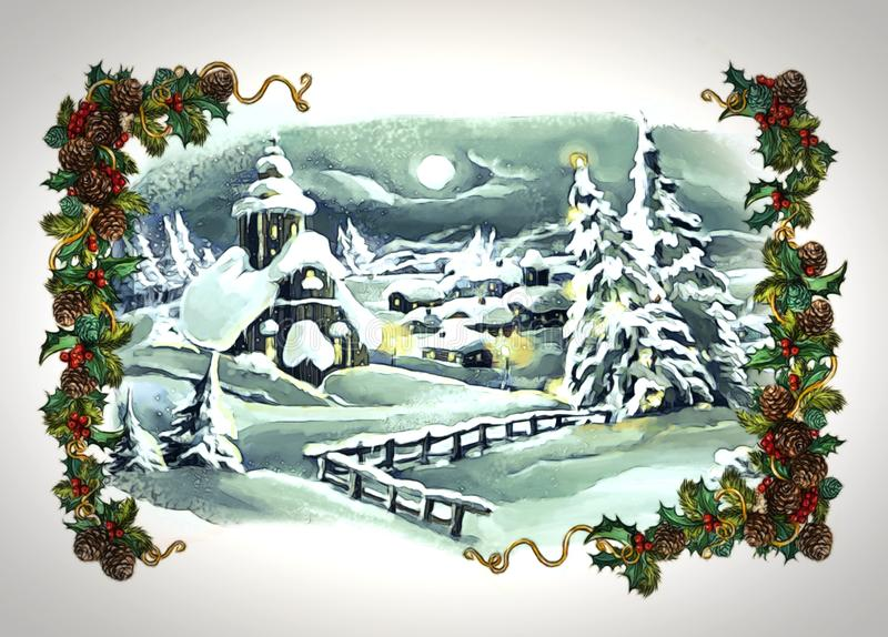 Cartoon fairy tale christmas winter scene with village stock illustration