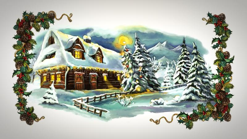 Cartoon fairy tale christmas winter scene with village royalty free illustration