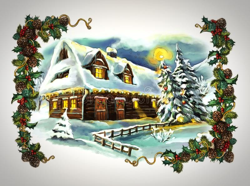 Cartoon fairy tale christmas winter scene with village vector illustration