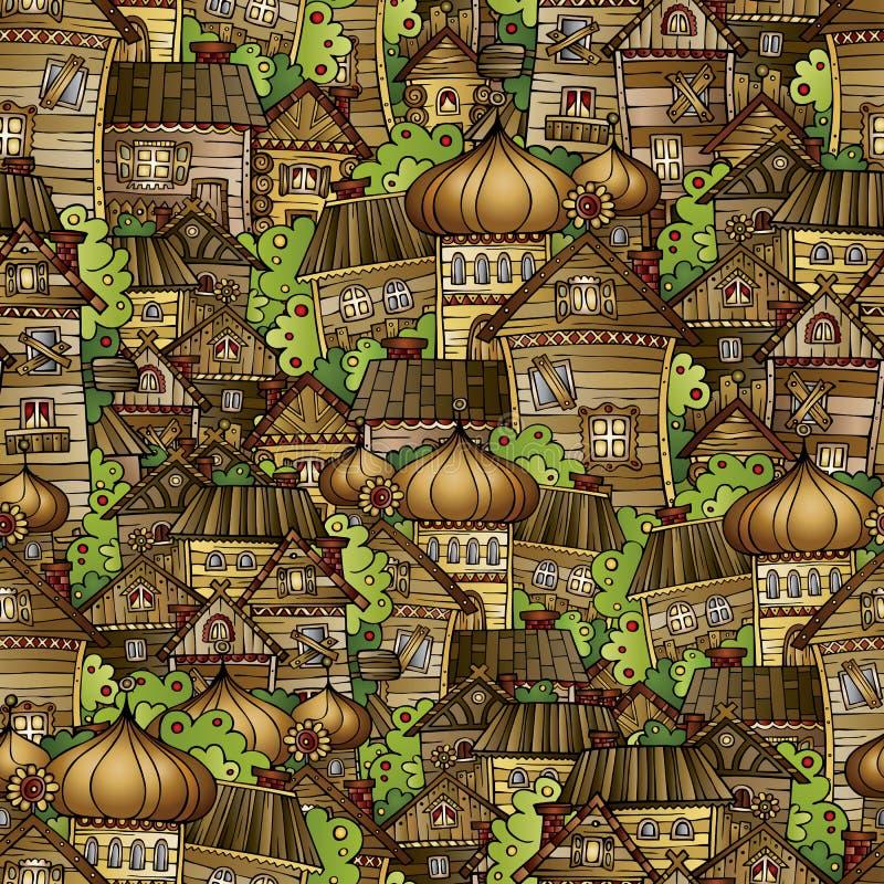 Cartoon fairy tale drawing village stock illustration