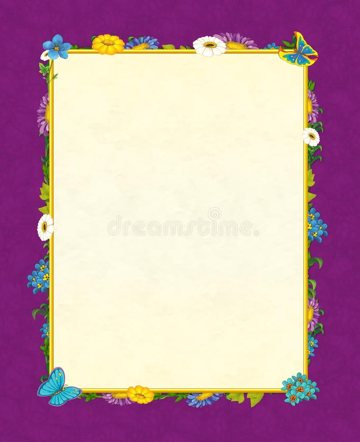 Cartoon fairy tale frame for different usage - beautiful birds and flowers - valentines royalty free illustration