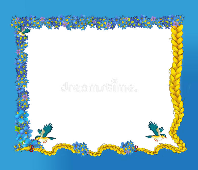 Cartoon Fairy Tale Frame For Different Usage - Beautiful Hair Birds ...