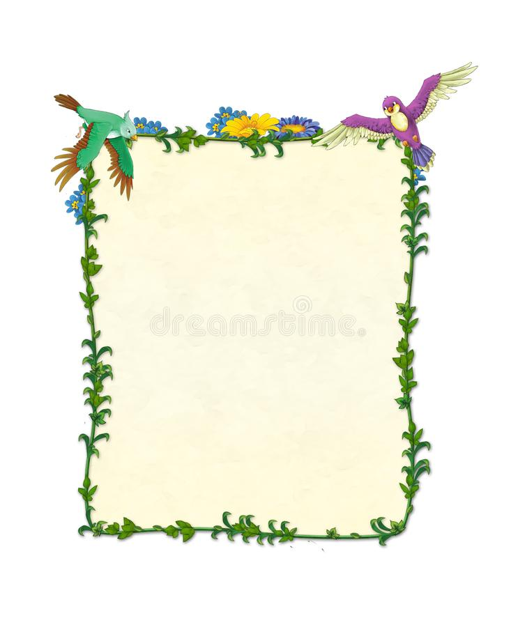 Cartoon fairy tale frame for different usage - beautiful hair birds and flowers - valentines royalty free illustration