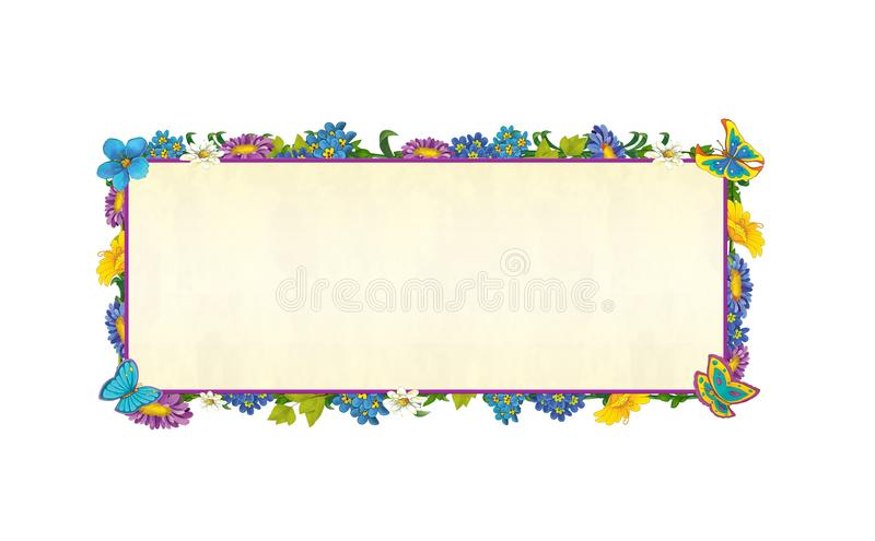 Cartoon fairy tale frame for different usage - beautiful hair birds and flowers - valentines stock illustration