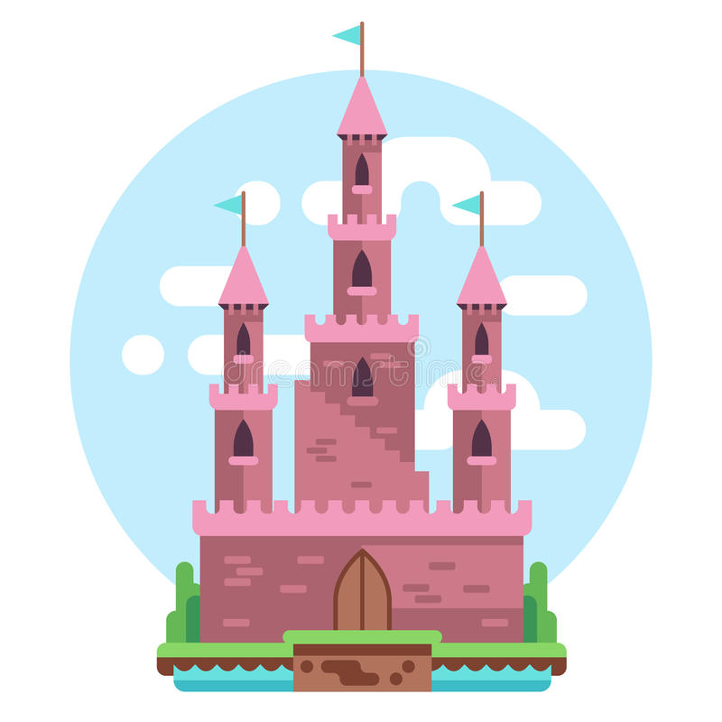 Cartoon fairy tale pink alcazar castle vector illustration. Princess mysterious house with flags and gate royalty free illustration
