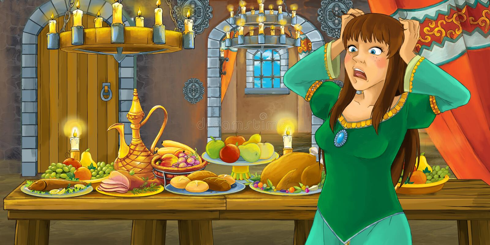 Cartoon fairy tale with princess in the castle by the table full of food looking and smiling vector illustration