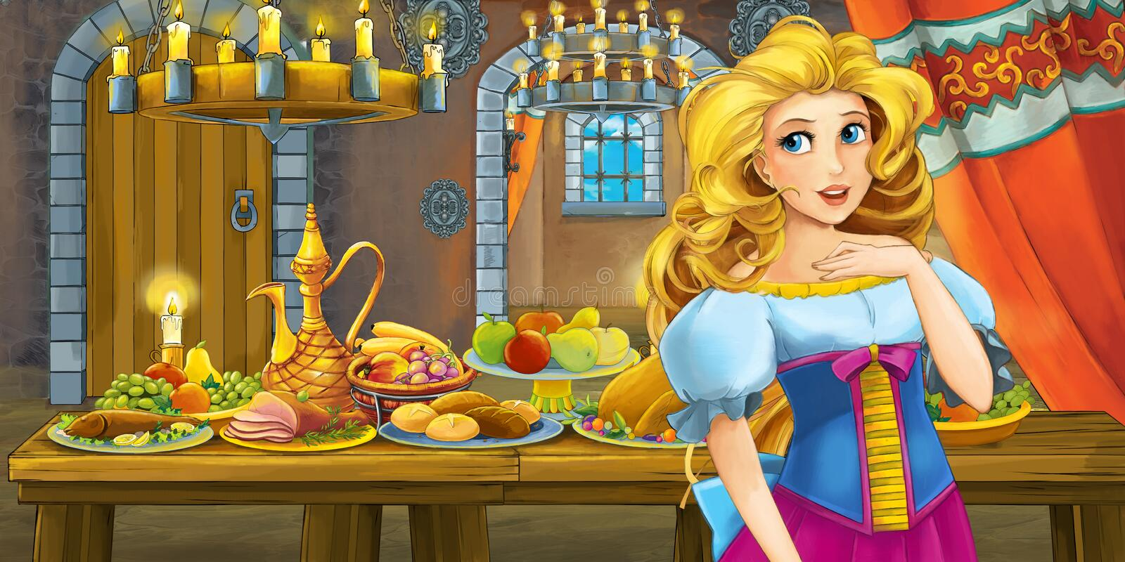Cartoon fairy tale with princess in the castle by the table full of food looking and smiling royalty free illustration