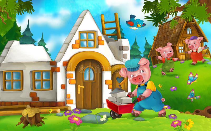 Cartoon fairy tale scene with pigs doing different pigs stock illustration
