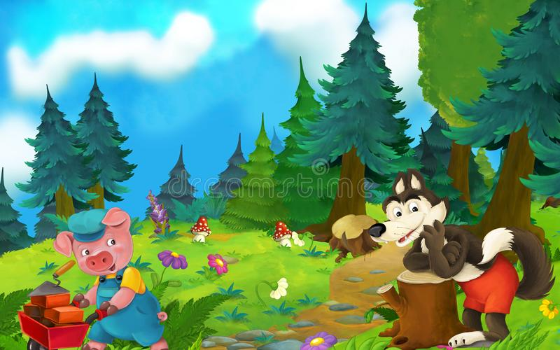 Cartoon fairy tale scene with wolf and pig on the meadow royalty free illustration