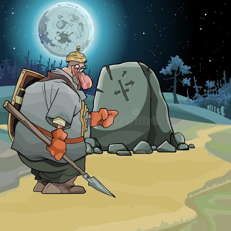 Cartoon fairy-tale warrior stands at a pointing stone on a moonlit night. Cartoon fairy-tale warrior stands and points a finger at the stone pointer on a moonlit vector illustration