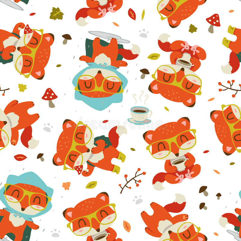 cartoon fall fox pattern vector illustration