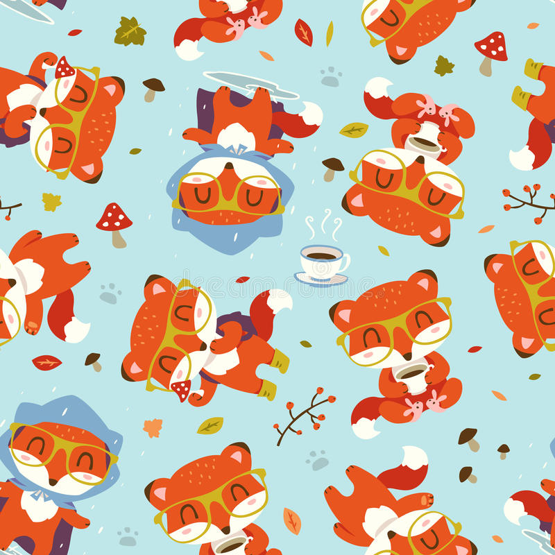 Cartoon fall fox pattern stock illustration
