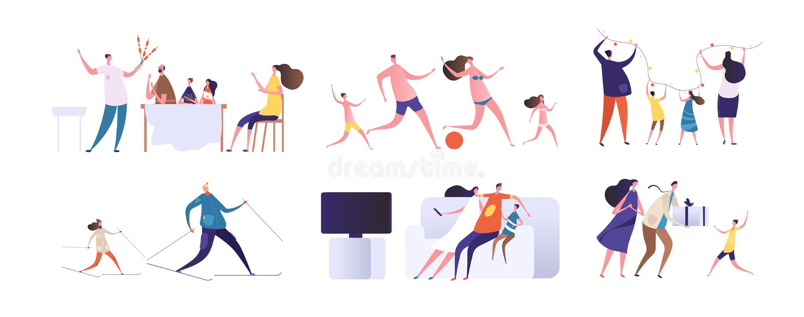 Cartoon families. Happy mother, father playing with kids and spend time together at home and outdoor. Vector characters vector illustration