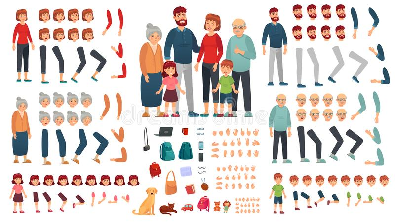 Cartoon family creation kit. Parents, children and grandparents characters constructor. Big family vector illustration. Cartoon family creation kit. Parents stock illustration
