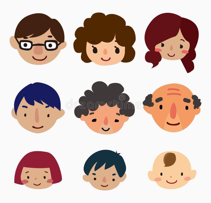 Cartoon family face icons vector illustration