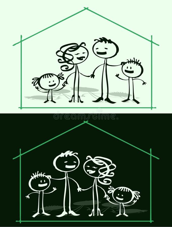 Cartoon family & home vector illustration
