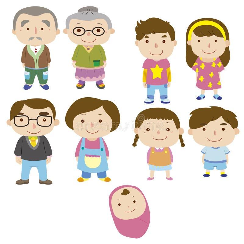 Cartoon family icon. Vector drawing royalty free illustration